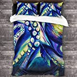 Quintion Cooper Gigantic Colossal Octopus Abstract Sea Monster Watercolor All-Season Bedding 3-Piece...
