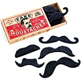 AWS Fake Moustaches - 15 Black Stick On Moustache Fancy Dress Set for Mexican, Freddie Mercury and...