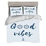 Duvet Cover Set Super King Size(260 x 220cm) with 2 Pillow Shams Good Vibes Microfiber Bedding Sets...