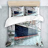 SUHETI Bedding duvet cover soft microfiber,Nautical Retro Classic Titanic Ship Ocean Scenery...