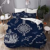ALLMILL seamless background marine nautical elements old,College Dorm Room Decorative 3-Piece...