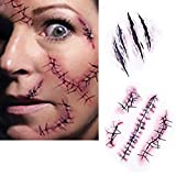 SA Halloween zombie scar tattoos with fake scabs and blood, costume makeup stickers