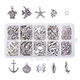 PandaHall 180pcs 9 Styles Seaside Ocean Theme Charms with 50pcs Jump Rings Starfish Ocean Fish...