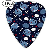 Nautical Narwhal Guitar Picks 12 Pack-3 Different Sizes Includes Thin, Medium & Heavy