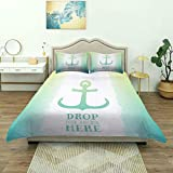 Duvet Cover,Nautical Anchor Icon Illustration Quote Striped Two Colored Background Stability Symbol...