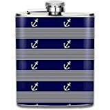 Navy Blue Love Anchor Nautical Stainless Steel Flagon,Outdoor Portable Stainless Steel Flagon Liquor...