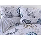 Nimsay Home Seafarer Nautical Seashells Compass 100% Cotton Pillowcases Pair 60 x 70 cm