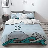 3 Piece Duvet Cover Set No Wrinkle Ultra Soft Bedding Set,Nautical Decor,Floating Baby Whale Over...