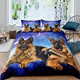 Dog Galaxy Duvet Cover 3D German Shepherd Dog Print Bedding Set Chic Blue Purple Starry Sky...
