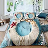 Nautical Style Bedding Set for Boys Kids Teens Girls Child Nursery, ,Ocean Comforter Cover Conch...