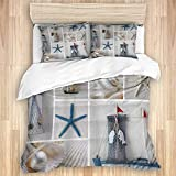 XMTMR-Glass Duvet Cover Sets Bed Sheets,Beach Seashell Coastal Nautical Sea Shel,3 Piece Bedding Set...