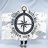 Compass Hooded Blanket Nautical Map Sherpa Fleece Microfiber Navy Blue and White Throw Blanket Boys...