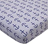 Nautica Kids Set Sail Nautical/Anchor 100% Cotton Fitted Crib Sheet, Navy, Grey