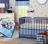 USTIDE 7-Piece Nursery Baby Crib Bedding Set Nautical Cot Bedding Set for Boys Baby Cot Ocean Themed...