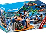 PLAYMOBIL Pirates 70556 Pirate Island with Treasure Hiding Place and Floating Boat, For Children...