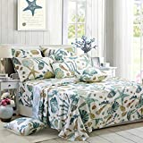 FADFAY Sheet Set Full Beach Themed Bedding Sets 100% Cotton Super Soft Coastal Bedding White Teal...