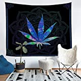 Loussiesd Marijuana Weed Leaf Tapestry for Kids Boys Boho Mandala Cannabis Wall Blanket Teens Chic...