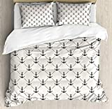 VORMOR Anchor Duvet Cover Set King Size, Abstract Retro Nautical Style Motif Checkered Pattern...