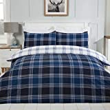 Sleepdown Tartan Check Navy Blue White Reversible Soft Easy Care Duvet Cover Quilt Bedding Set with...
