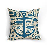 Navy Blue Anchor Cushion Covers 18x18 Inch Soft Cotton Linen Coastal Nautical Theme Pillow Case...