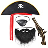 Beefunny Pirate Fancy Dress Costume Accessories Set Hat Eyepatch Beard for Halloween and Pirate...