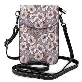 Women Small Cell Phone Purse Crossbody,Graceful Nature Theme Bedding Plant Poppies Buds With...