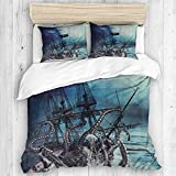 MANISENG bedding-Duvet Cover Set,Ocean Kraken Attack Nautical Pirate Ship Octopus Tentacles Sailboat...