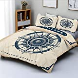 Duvet Cover Set,Compass Illustration with Lettering Nautical Adventure Themed Decorative Art Print...