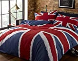 Rock N Roll Funky Union Jack British Uk Blue Red White Double Duvet Cover Bedding Bed Set, Blue