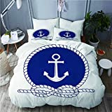 713 YUDILINSA Duvet cover with Pillowcase Quilt Bedding set,Nautical Badge with Anchor of Round Rope...