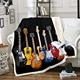 Guitar Printed Fleece Blanket Rock Music Themed Warm Plush Blanket for Sofa Couch Colorful Musical...
