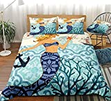 HUA JIE King-Size Bedding Sets,Bedding Ocean Duvet Cover Set Coastal Nautical Theme Design Girls...