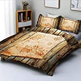 Duvet Cover Set,Treasure Map on Rustic Timber X Marks The Spot of Gold Nautical Pirates Concept...