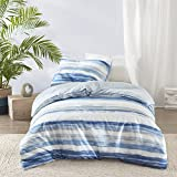 Marina Duvet Cover and Pillowcase Set, Modern Take on the Coastal Stripe, Watercolor Motif, Luxury...