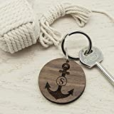 Personalised Anchor and Initial Round Wooden Keyring, Engraved Wood Keychain, Personalized, Family,...