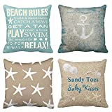 Emvency Set of 4 Throw Pillow Covers Beach Starfish Words Rules Holiday Summer Nautical Anchor...