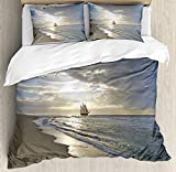 Nautical Duvet Cover Set, A Sailing Ship Close to Sandy Beach in Moody Sunset Paradise Tropical...