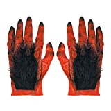 Maxi Hairy Devil Hands In Latex Accessory for Halloween Lucifer Satan Fancy Dress