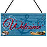 RED OCEAN Welcome Nautical Seaside Marine Themed Home Gift Hanging Plaque Bedroom Bathroom Boat Sign