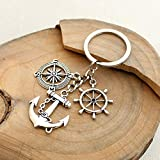 Anchor Rudder Compass Keychain, Inspirational Key Chain Ring for Family and Friends