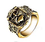 Ueice Creative Nordic Viking Anchor Hook Stainless Steel Rings for Mens,Gold,Size X