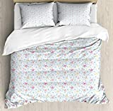 LnimioAOX Nautical Duvet Cover Set, Summer Marine Repetition with Outline Seashells and Colorful...