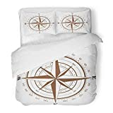 3 Piece Duvet Cover Set Brushed Microfiber Fabric Breathable Map Brown Compass Rose White Nautical...