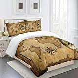 RQXRTR Duvet Covers Double Bed 200X200cm 3 Pcs World Nautical Map Compass Printed Bedding Set With...
