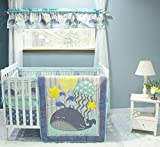 USTIDE 7-Piece Nursery Cot Bedding Set Cute Whale Baby Boy Crib Bedding with Bumper, Fitted Sheet...