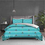 Aqua Pure bedding hotel bed linen Nautical Pattern with Halftone Dotted Sea Inspired Background and...