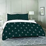 DIIRCYB Duvet Cover Set-Bedding,Nautical Pattern with Classic Colors and Anchors Simplistic Design...