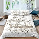 Loussiesd Vintage Nautical Comforter Cover Set Kids Boys Adults 3D Sailboat Printed Duvet Cover...