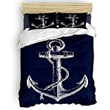 SunnyM 4-Piece Duvet Cover Set, Nautical Navy Anchor Bedding Set - 1 Quilt Cover 1 Bedspread 2...