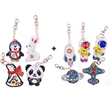 DIY Keychains Diamond Painting Kits for Kids, Full Drill Stick Paint with Diamonds Animal & Airplane...